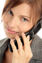 Woman calling by cellular phone Stock Photos