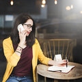 Woman Calling Smart Phone Writing Concept