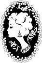 Woman cameo vintage profile silhouette in Royalty Free Stock Image