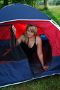 Woman Camping Royalty Free Stock Images