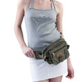 Woman with canvas waist bag Stock Photo