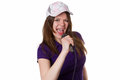 Woman with cap singing Royalty Free Stock Photography