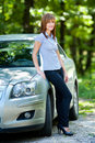 Woman with car Royalty Free Stock Photo