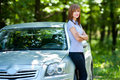 Woman with car Royalty Free Stock Photography