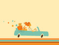Woman in car illustration old fashioned style young riding a with purchases Royalty Free Stock Photo