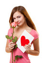 Woman with card and rose flower Royalty Free Stock Photography