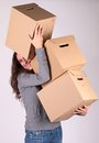 Woman and cardboard Royalty Free Stock Photos