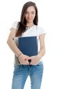 Woman carrying a pair of photo albums Royalty Free Stock Photos
