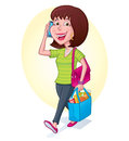 Woman carrying reusable shopping bag cartoon illustration of a a blue grocery filled with groceries while talking on her cell Stock Images