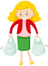Woman carrying two plastic bags Royalty Free Stock Photo