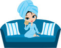 Woman cartoon in a towel on a sofa. Stock Image