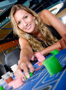 Woman in a casino Stock Images