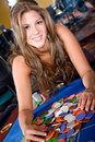 Woman in a casino Stock Photos