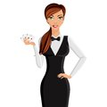 Woman casino dealer portrait Royalty Free Stock Photo