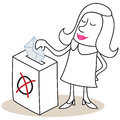Woman casting her vote vector illustration of a monochrome cartoon character standing in front of ballot box Stock Photos
