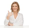 Woman in casual clothes picture of showing thumbs up Royalty Free Stock Image