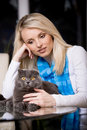 Woman and cat Royalty Free Stock Photos