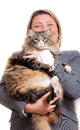 Woman with cat huge maine coon Royalty Free Stock Images