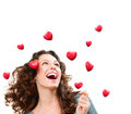 Woman catching valentine hearts beauty young love concept Stock Images