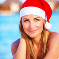Woman celebrate christmas on maldives closeup portrait of nice girl new year holidays tropical island party the beach travel and Stock Photography