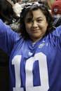 Woman celebrates Giants Super Bowl 46 Victory Stock Images