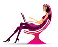 Woman in a chair with a laptop Royalty Free Stock Photo