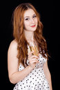 Woman with champagne smiling beautiful elegant young glass of studio shot Stock Photography