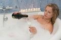 Woman With Champaigne In Bathtub