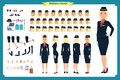 Woman character creation set. The stewardess, flight attendant. Icons with different types of faces and hair style,