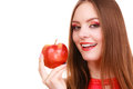 Woman charming girl colorful makeup holds apple fruit