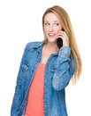 Woman chat on cell phone isolated white background Stock Images