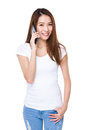 Woman chat on mobile phone isolated white background Stock Photography