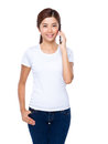 Woman chat on phone isolated white background Stock Images