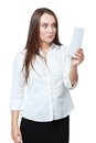 Woman checking over the receipt shocked young and spending too much Royalty Free Stock Image