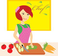 Woman chef cooking young in the kitchen Royalty Free Stock Photography