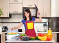 Woman chef with knife Royalty Free Stock Photo