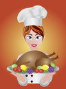Woman Chef  with Roast Turkey Dinner Illustration Stock Image