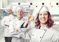 Woman chef smiling young women portrait Royalty Free Stock Image