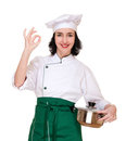 Woman in chef uniform with ok sign Stock Photography