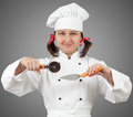 Woman chef uniform roller knife shovel pizza holds Stock Photography