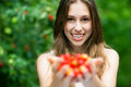Woman with cherries Royalty Free Stock Image