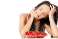 Woman with cherries Stock Photo