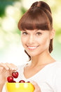 Woman with cherries bright picture of lovely Stock Image
