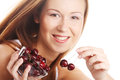 Woman with cherries happy young Stock Image