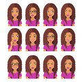 Woman with chestnut hair and emotions. User icons. Avatar Vector illustration