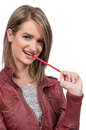Woman Chewing Pencil Royalty Free Stock Photo
