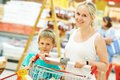 Woman and child boy shopping Royalty Free Stock Photo