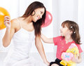 Woman and child playing Royalty Free Stock Image