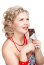 Woman with chocolate bar Royalty Free Stock Photo
