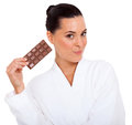Woman chocolate slab cute young holding a isolated on white Royalty Free Stock Image